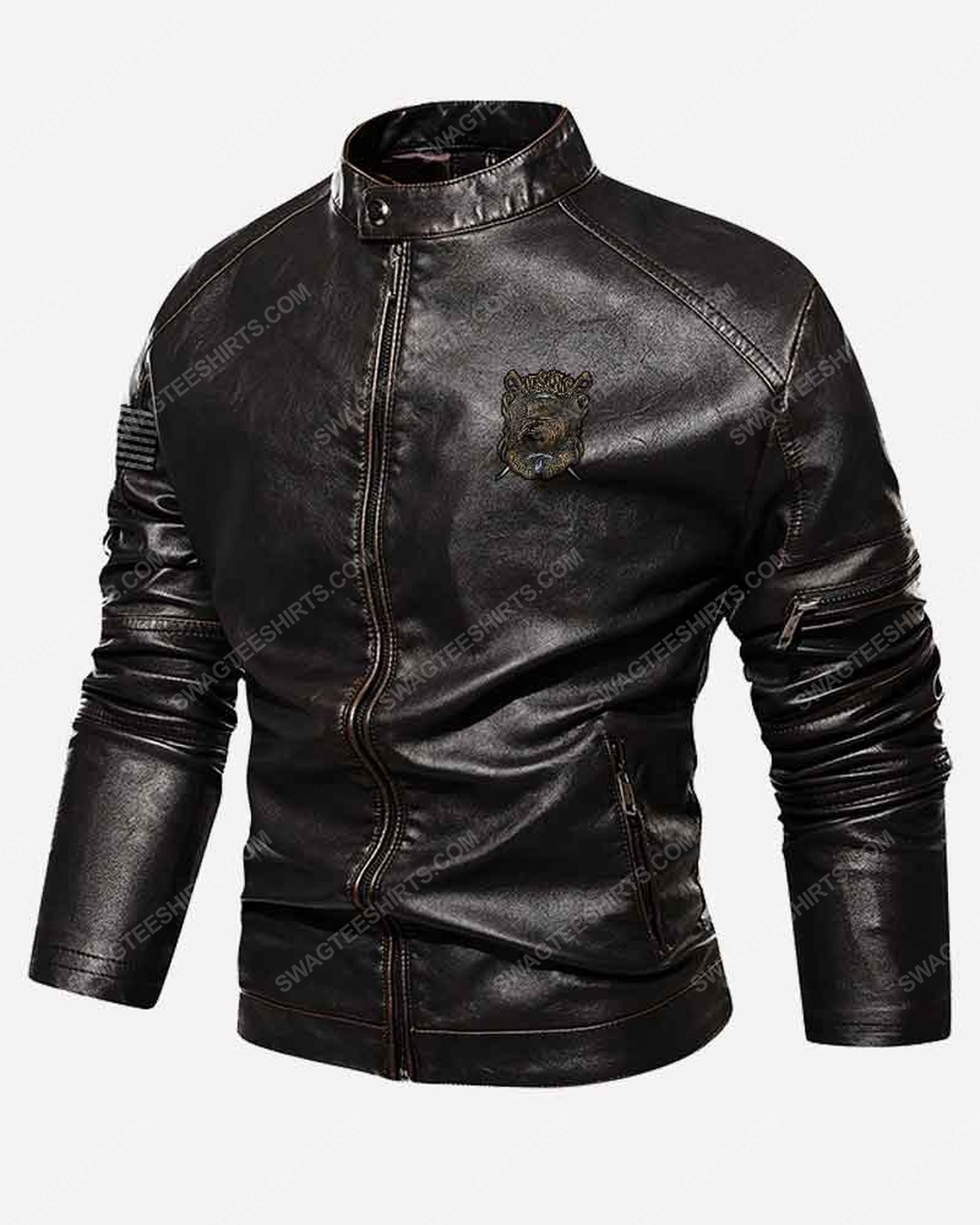 Custom usmc veteran semper fi moto leather jacket
