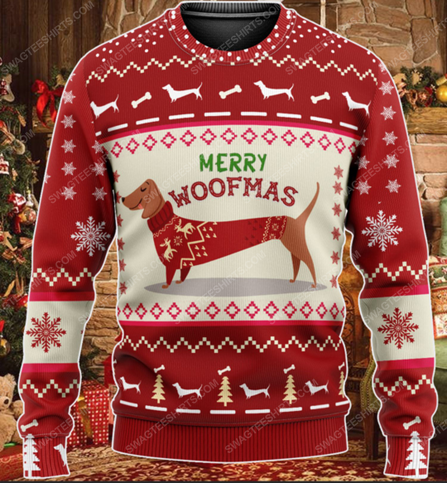 Dachshund merry woofmas all over print ugly christmas sweater