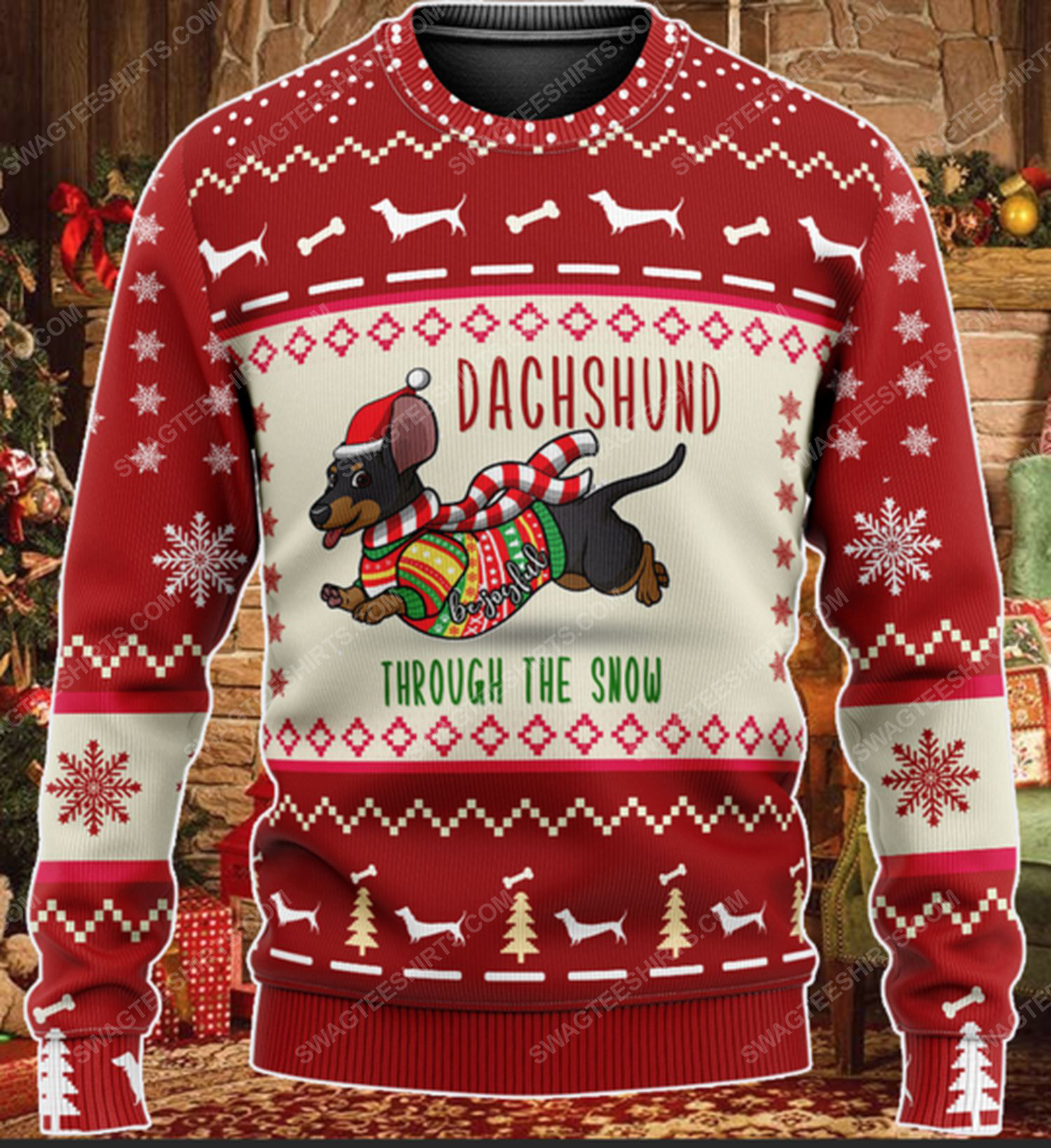 Dachshund through the snow all over print ugly christmas sweater 2