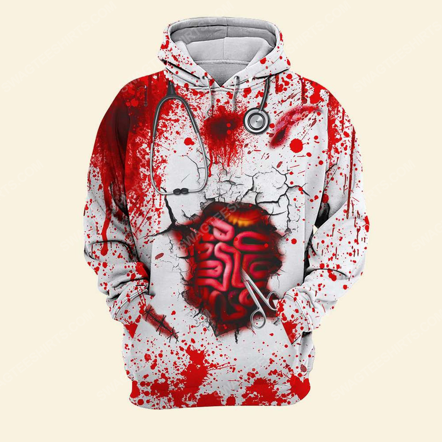 Halloween bloody you can't scare me worry me or intimidate me i've been a nurse far too long shirt