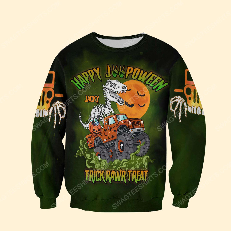 Halloween trick rawr treat halloween t rex dinosaur ghost shirt