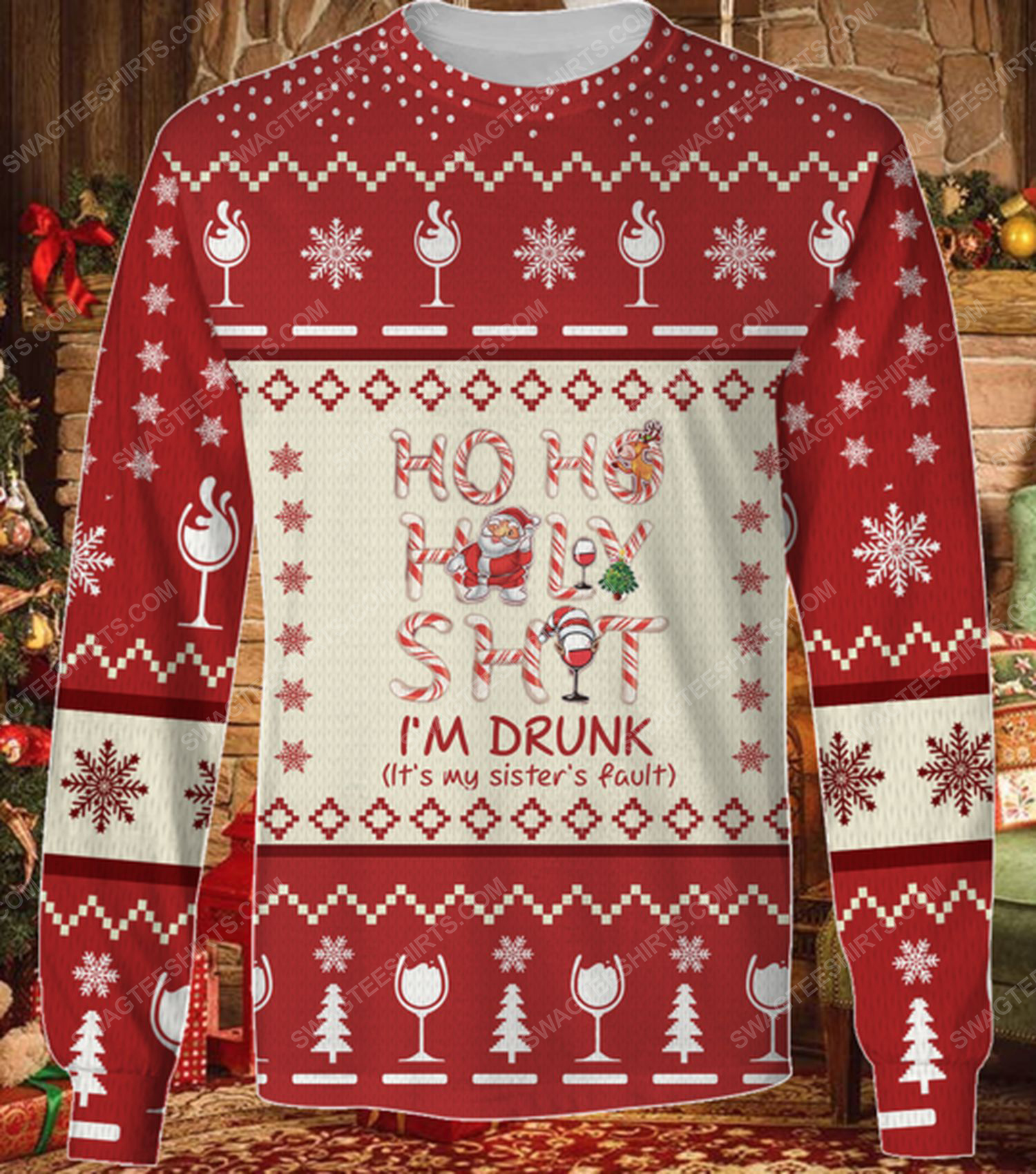 Ho ho holy shit i'm drunk wine santa ugly christmas sweater