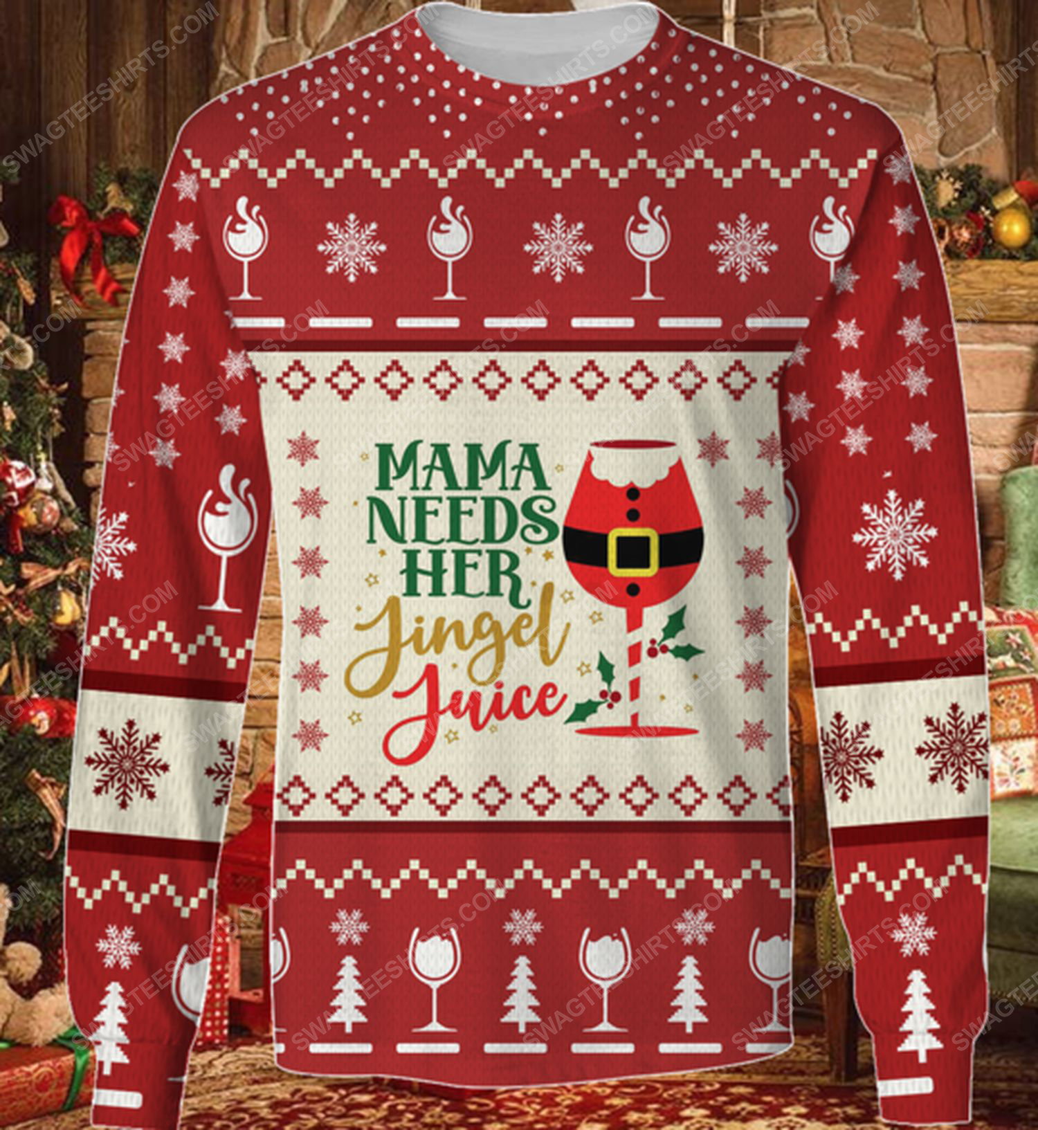Mama needs her jiggle juice ugly christmas sweater 2