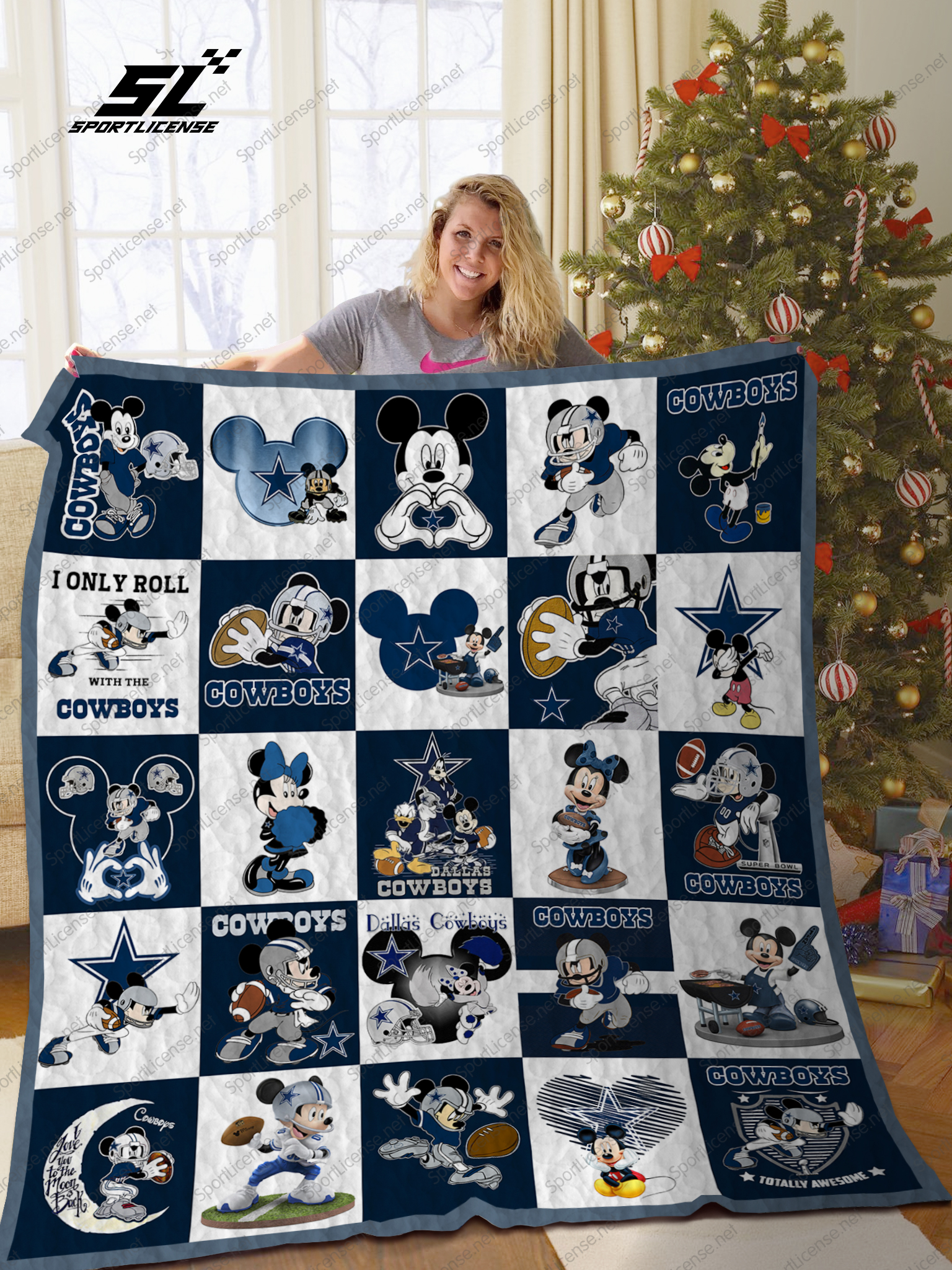 Mickey mouse dallas cowboys nfl quilt
