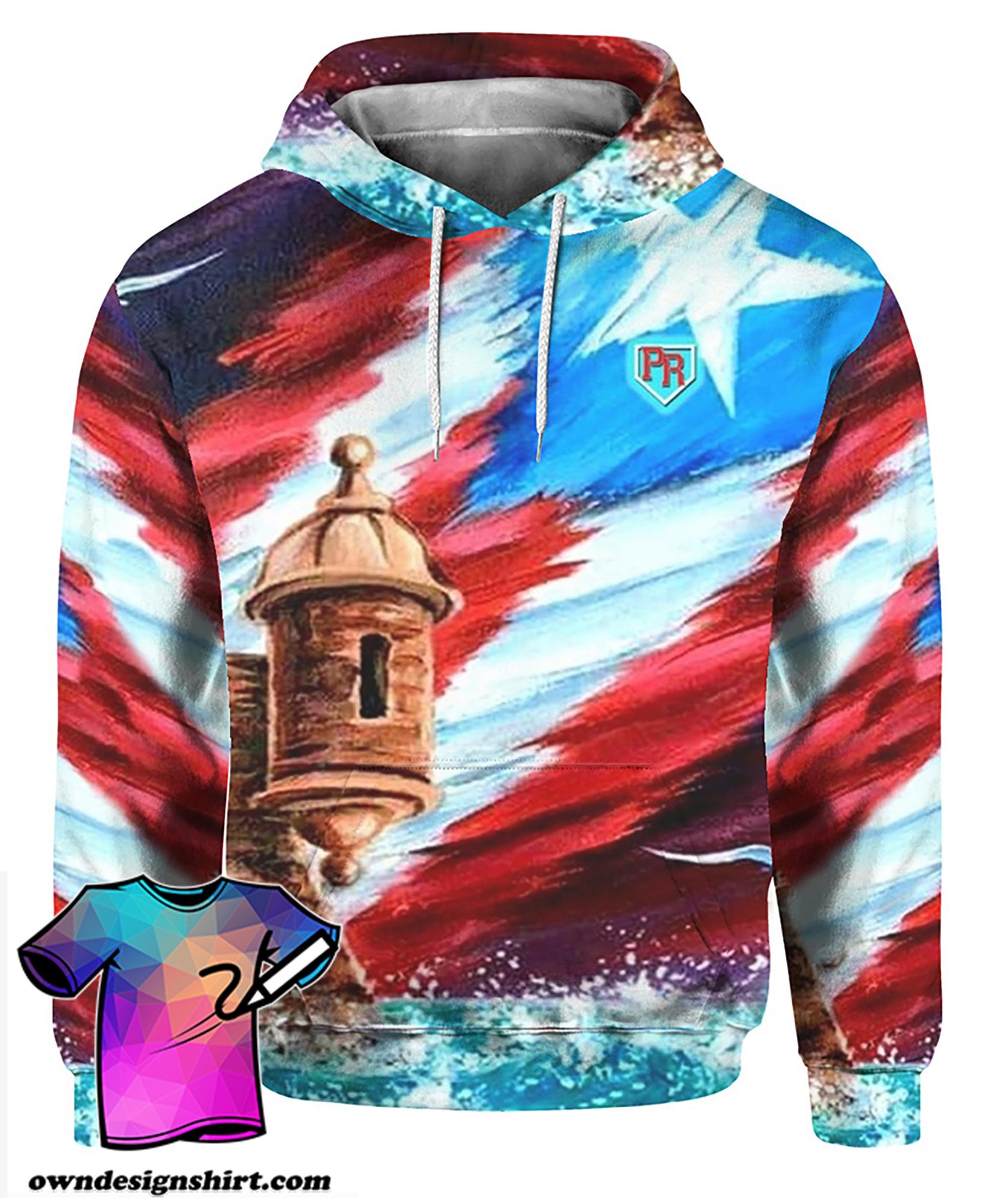 Puerto rico symbols full printing hoodie