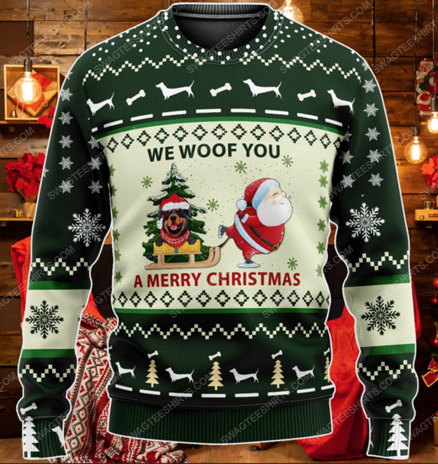 Rottweiler we woof you a merry christmas ugly christmas sweater 2