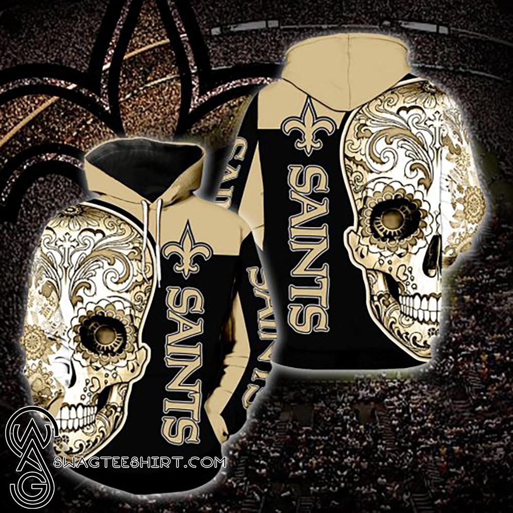 Sugar skull new orleans saints all over print hoodie