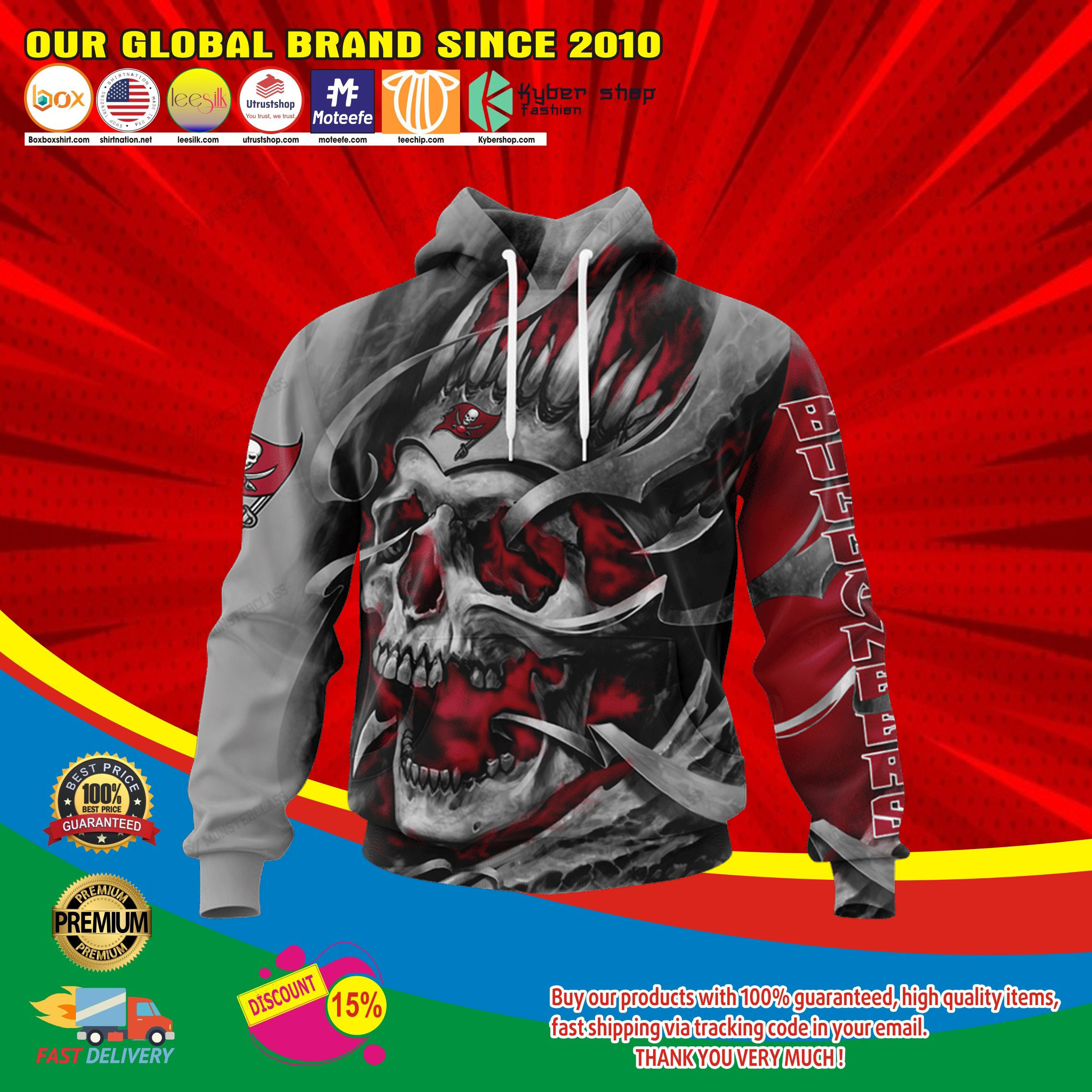 Tampa bay buccaneers skull jersey hoodie4