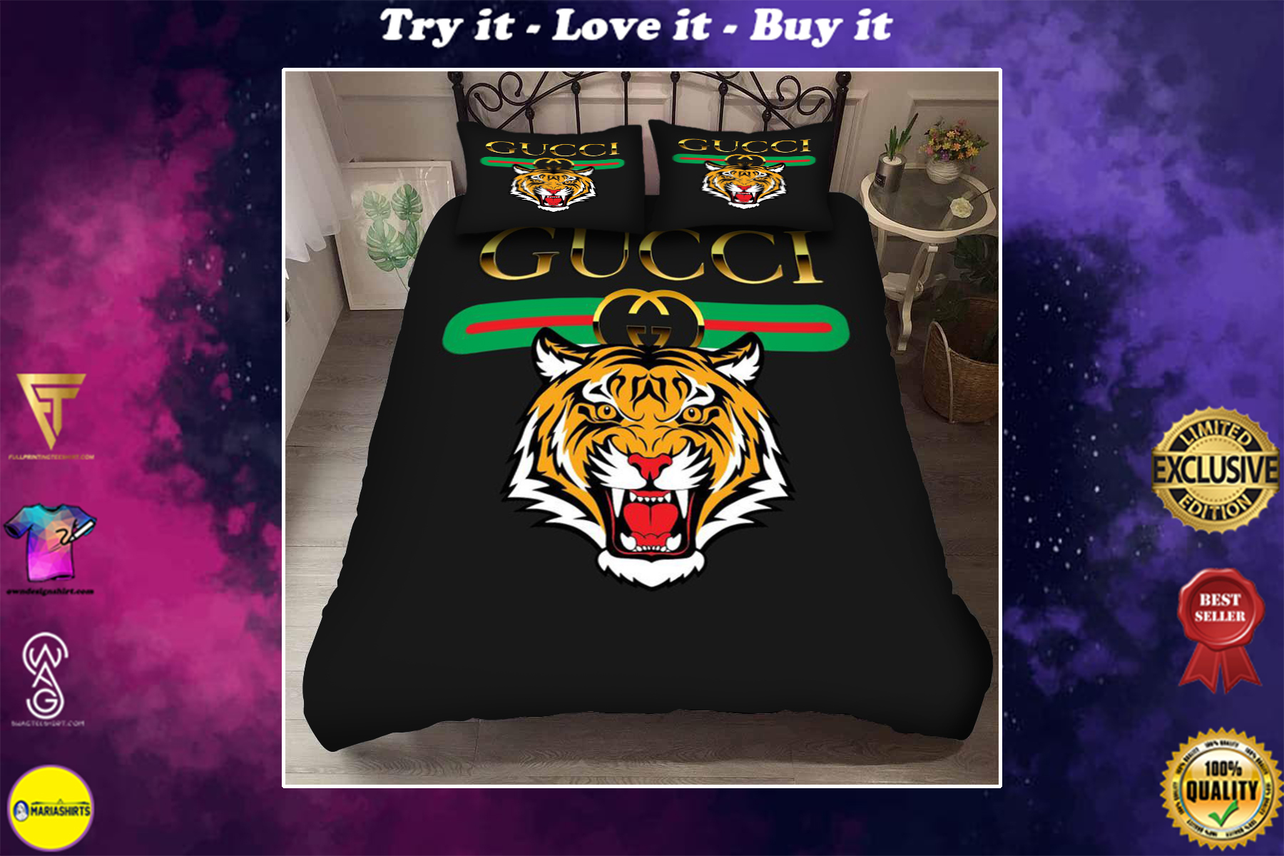gucci with tiger logo bedding set