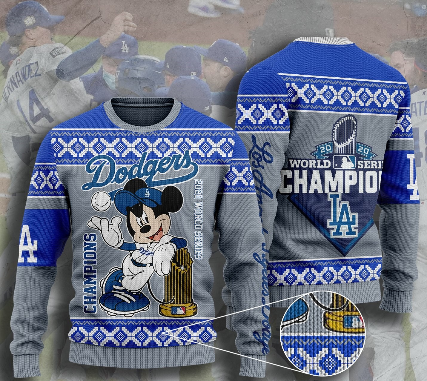 los angeles dodgers champions mickey mouse ugly christmas sweater