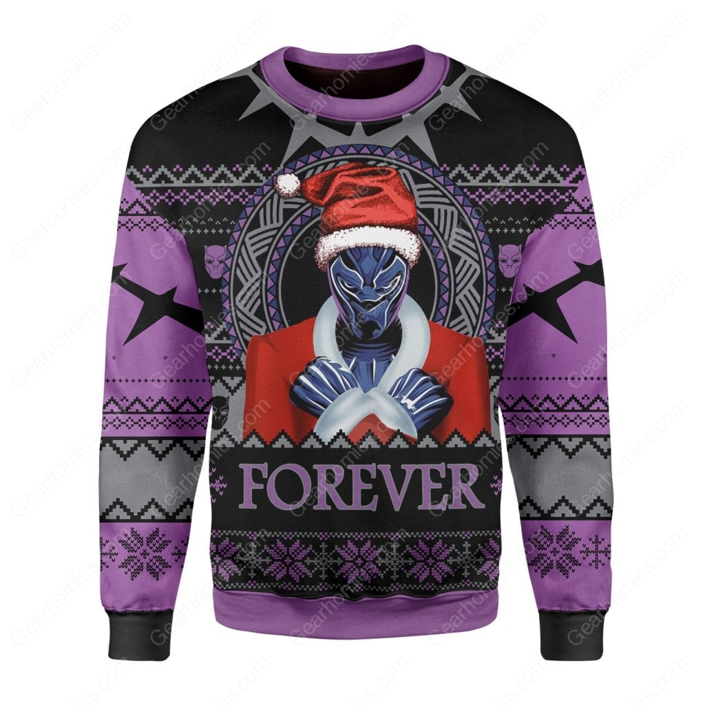 santa black panther wakanda all over printed ugly christmas sweater